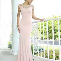 Pink Jersey Long Dress 99112 - Prom Dresses
