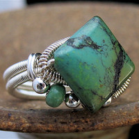 SIZE 8.25 Ring Sterling Silver Wire Wrapped Green Blue Turquoise Gem