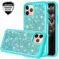 Apple iPhone 11 Pro Case, Glitter Bling Heavy Duty Shock Proof Hybrid Case with [HD Screen Protector] Dual Layer Protective Phone Case Cover for Apple iPhone 11 Pro - Teal