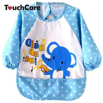 Cute Cartoon Animal Printed Baby Bibs born Long Sleeve Art Apron Smock Waterproof Feeding Eat Toddler Clothes Bibs
