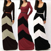 Dresses for Womens Fashion Sexy Regular Geometric Stripes Hit Color Long Sleeve Dress Plus Size Maxi Casual Dress with Belt