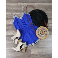 Coveted Cobalt Blue Romper with Lace Lattice Hem