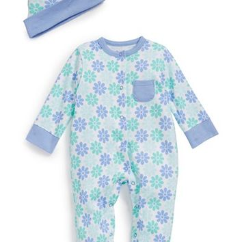 Infant Girl's Offspring Daisy Print Cotton One-Piece & Hat
