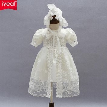 Baby Girl Dress With Shawl + Hat for Toddler Girls Infant 1 Year Birthday Party Baptism Christening Gown
