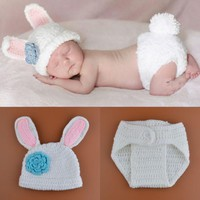 Handcrafted 2pc Snuggly Bunny Crochet set for your Newborn baby