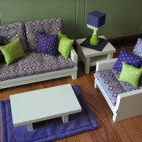 """18"""" Doll/American Girl sized Living Room-Loveseat/Chair/Coffee & End Table/Lamp/Rug - Purple / Lime Green - MAY 2014 SHIPPING ONLY"""