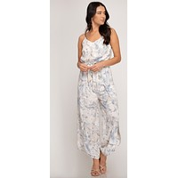 Women's Printed Jumpsuit with Waist Sash