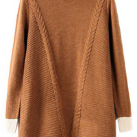 ROMWE Color Block Twisted Long Sleeves Coffee Jumper