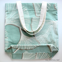 Fashion Fabric Tote - made w/ cotton this shoulder bag has a palm tree leaf print. Blue green spa bag, city tote, lightweight, medium sized