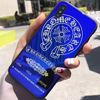 Chrome Hearts iPhone8X Blu-ray Glass Phone Case All-Purpose Scratchproof Cover Creative