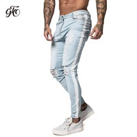 Gingtto Skinny Jeans For Men Distressed Stretch Jeans Ice Blue Ripped