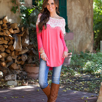 (Cyber Monday) Lace Delicacy Top Coral