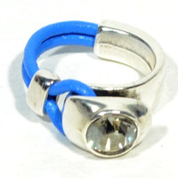 womens leather ring * swarovski ring * leather and swarovski ring * gifts for women * gift for mom * gift for girlfriend