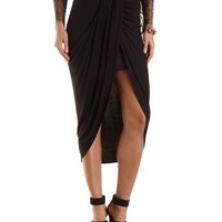 Ruched Asymmetrical Wrap Skirt by Charlotte Russe - Black