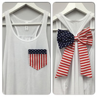 American Flag Pocket and Bow Tank, Bow Tank Top, Star Tank Top, 4th of July Tank, American Flag Tank Top, Country Tank, Councert Tank