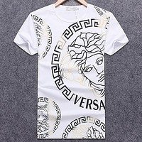 Versace 2018 new summer men's round neck loose short-sleeved T-shirt White