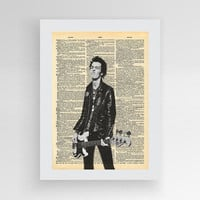 Sid Vicious Poster, Sex Pistol Poster, Punk Rock, Music Art Print, Music Vintage Print, Prints on Dictionary Paper, dictionary page