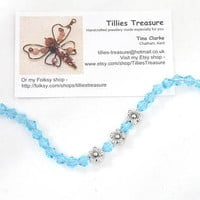 Aqua Blue Crystal Bracelet, Flower Charms, Silver Clasp, Plus Size or Anklet, Mothers Day, Bridesmaid, Wedding, Gift Idea, Tillies Treasure