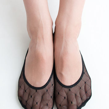 Women Brand New Hezwagarcia Must Have Peep Toe Cover Socks Soft Pad on inside of Sole Mesh Sheer in Black