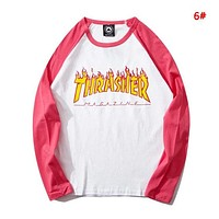 Thrasher Autumn And Winter New Fashion Bust Flame Letter Print Women Men Leisure Long Sleeve Top Sweater 6#