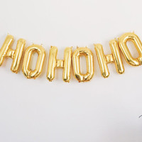 HOHOHO letter balloons - gold foil mylar letters christmas holiday - balloon banner with tassels
