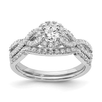 3/4 Ct. Natural Diamond Halo Infinity Bridal Engagement Ring Set in 10K White Gold