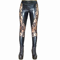 Sexy Women's Lace Rivet Pencil Matte Gothic Pants