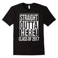 Men's Straight Outta Here Funny Senior Class of 2017 T-Shirt 2XL Black