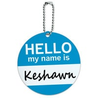 Keshawn Hello My Name Is Round ID Card Luggage Tag