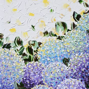 GICLEE PRINT Art Abstract Painting Floral Hydrangea Purple Lavender Blue White Flowers Canvas Prints
