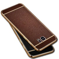 TPU Soft Plating edge Leather Back Cover For Samsung Galaxy S7 S8 Plus S6 Edge A3 A5 A7 2017 J3 J5 J7 Prime 2016 Grand Case