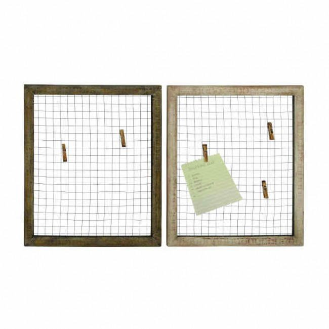Image of Set of 2 Square Wood and Chicken Wire Wall Panel Photo Collages