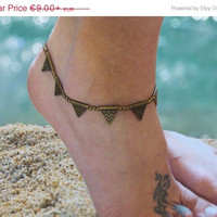 Geometric anklet / Gypsy beaded Anklet / Triangle anklet / Tribal Anklet / Festival anklet / for her / hippie jewelry / Brass anklet