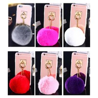 For iphone 6 Case Luxury Plating Mirror Back Cover Rabbit Fur Ball Acrylic TPU Phone Cases Coque for iphone 7 8 plus 6s 6 plus X
