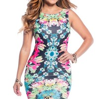The Jeweled Garden Floral Sleeveless plunged back Midi Bodycon Dress