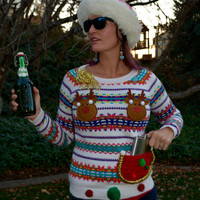 liquor, beer holder, Party Sweater, Ugly Christmas Sweater, women XS, alcohol, ugly xmas sweater, flask holder, New Years, reindeer boobs