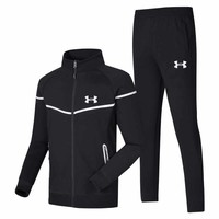 Under Armour New fashion letter print men leisure long sleeve top and pants two piece suit Black