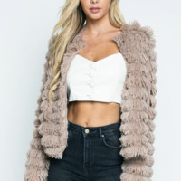 Good Hair Day Faux Fur Coat in Taupe
