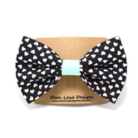 Black and Mint Heart Hair Bow Barrette