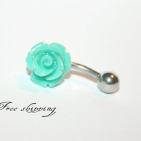 Turquoise rose- Belly Button Ring , Navel Piercing Bar Barbell, navel jewel,
