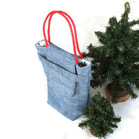 Christmas Gift Bag Reusable Small Denim Candy Cane Red Green Upcycled Gift Wrap Alternative Vintage 1980s Fabric--US Shipping Included