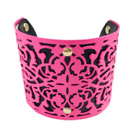 Neon Pink Metal & Leather Cuff Bracelet