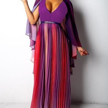 Purple Tie Dye Pleated Rainbow Deep V-neck Cape Chiffon Party Maxi Dress
