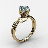Swan 14K Yellow Gold 1.0 Ct Blue Topaz Fairy Engagement Ring R1029-14KYGBT
