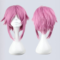 New Sexy Beautiful Fashion Style Short Pink Hair Japanese Sword Art Online Sachiy Cosplay Wig,Colorful Candy Colored synthetic Hair Extension Hair piece 1pcs WIG-217C
