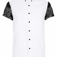 White Contrast Print Short Sleeve shirt - Men's Shirts - Clothing - TOPMAN USA