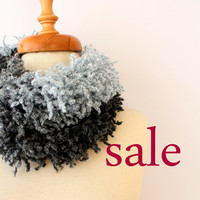 Sale, Gray to Blue Fringed Long Scarf was 22.50 - now 18.50