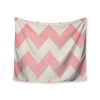 "Catherine McDonald ""Sweet Kisses"" Pink Chevron Wall Tapestry"