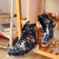 Sweet cute broken flower rain boots