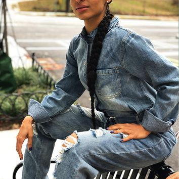 THE CLASSIC UTILITY DENIM JUMPSUIT